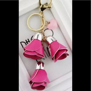 Handbags - PINK FLORAL LEATHER KEYCHAIN BACKPACK PURSE TAG